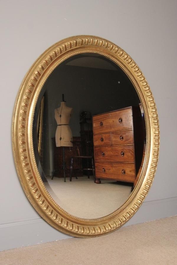 Beautiful Large 19th C. Oval Gilt Mirror