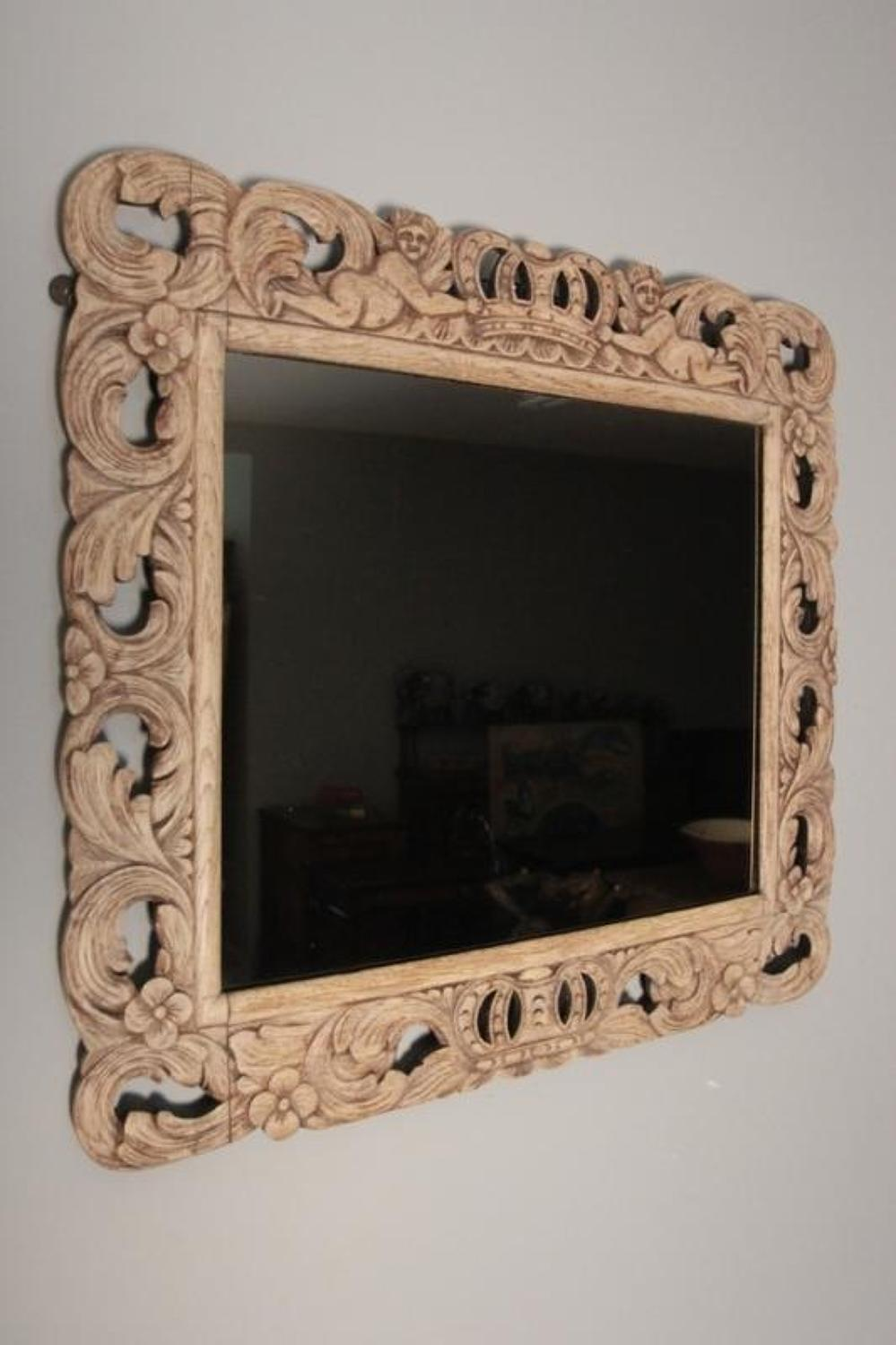 19th C Carved Natural Oak Mirror