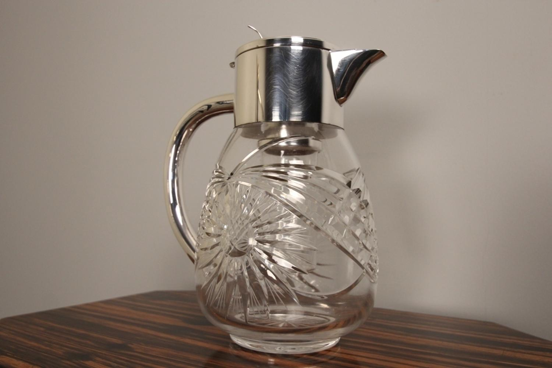 Antique Glass & Silver Plate Lemonade Jug
