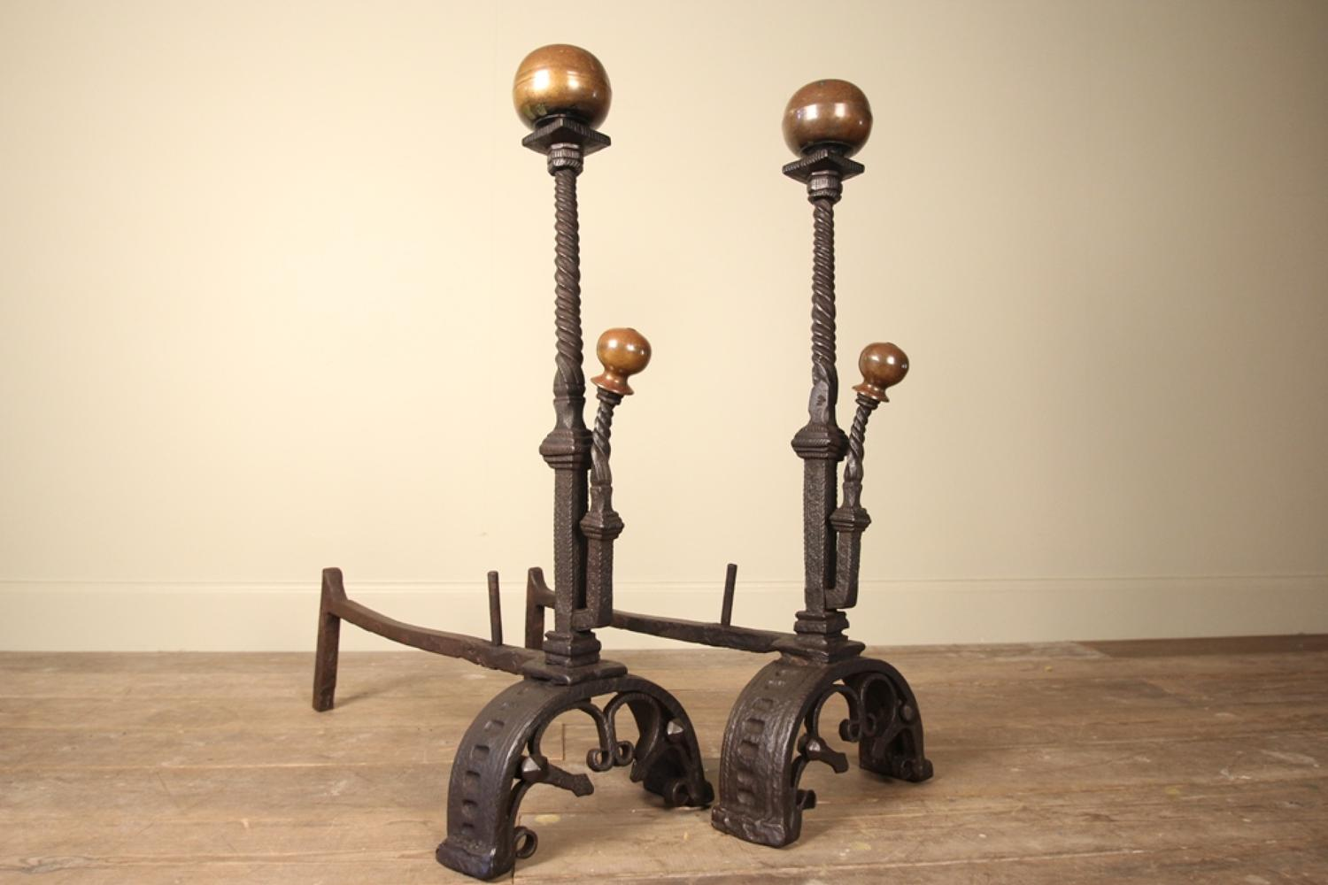 Fabulous Pair of 19th C. Fire Dogs / Andirons