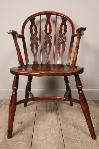 Early 19th C. Yew Wood Prior Windsor Chair