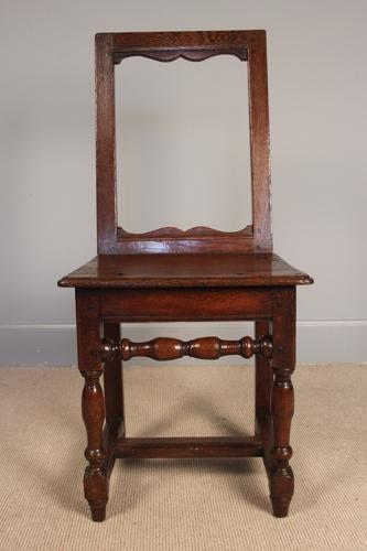 Small 17th Century Oak Backed Stool