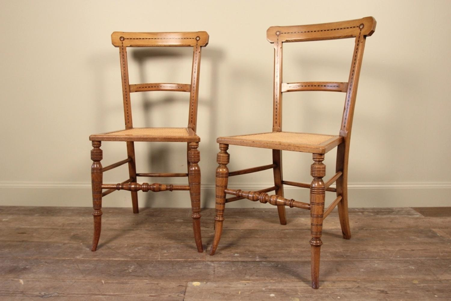Pretty Pair of Aesthetic Inlaid Chairs