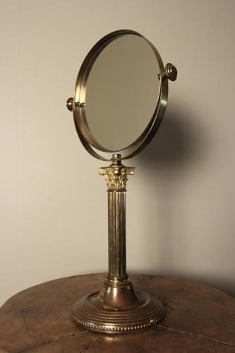 Large Edwardian Brass Shaving Mirror