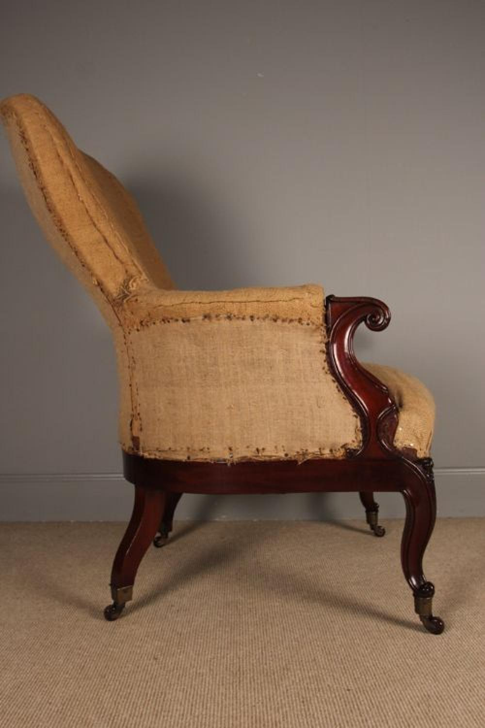 19th C. Shapely French Upholstered Chair