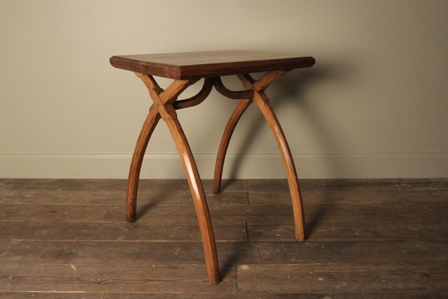 Stylish 19th C. X Frame Elm & Pine Side Table