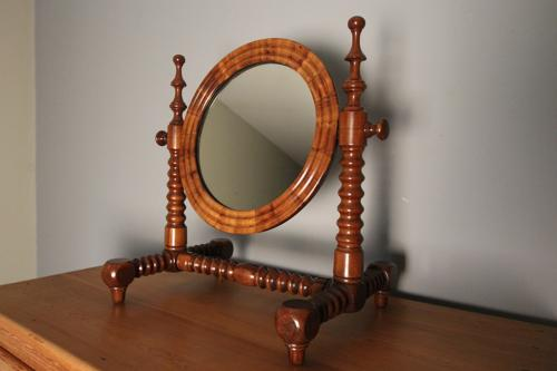 Stunning 19th C. Yew Wood Table Mirror
