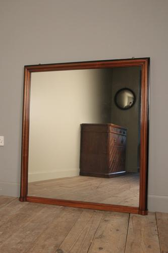 19th C Walnut Wall Mirror / Overmantle