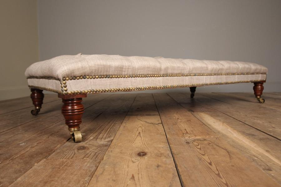 Superb Mahogany Upholstered Centre Stool / Coffee Table