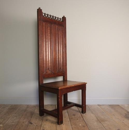 Grand Scale Gothic Linenfold Oak Hall Chair