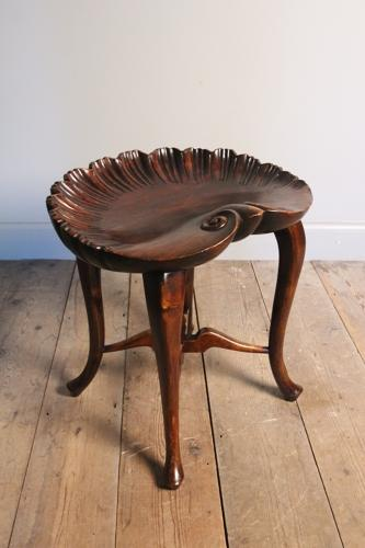 Edwardian Walnut Shell Stool