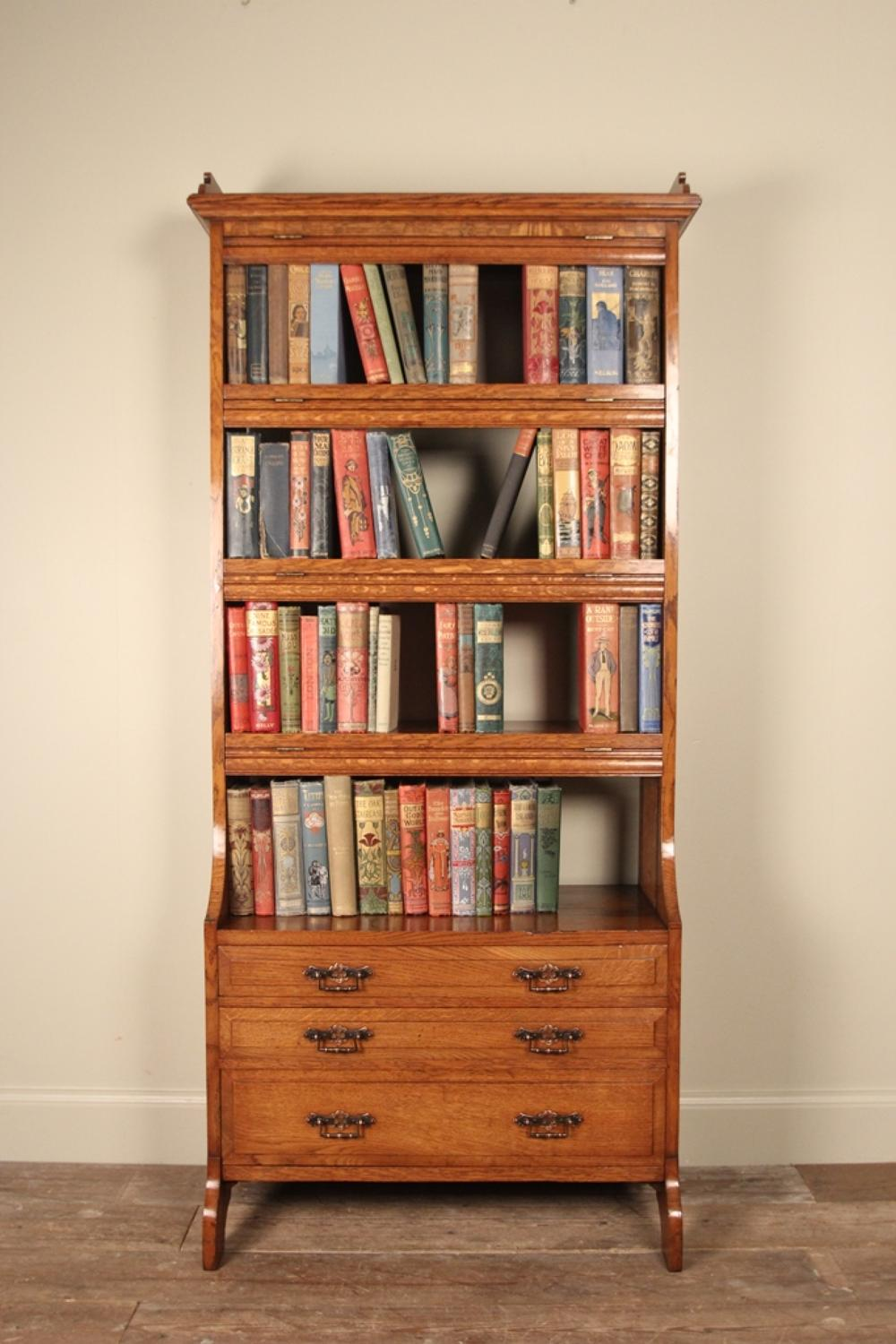 19th C. Small Light Oak Bookcase Cabinet