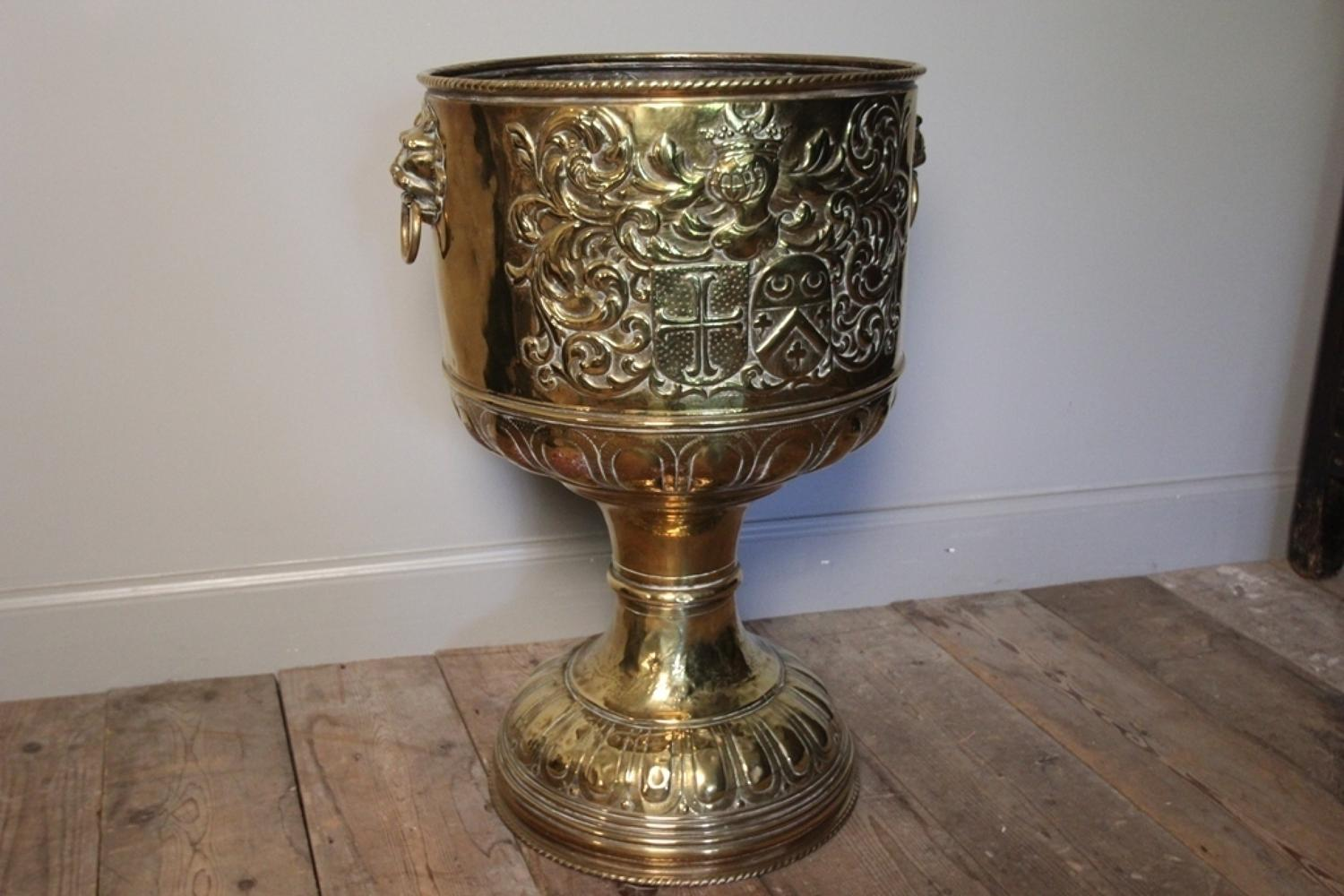 19th C. Brass Pedestal Jardiniere / Log Bucket