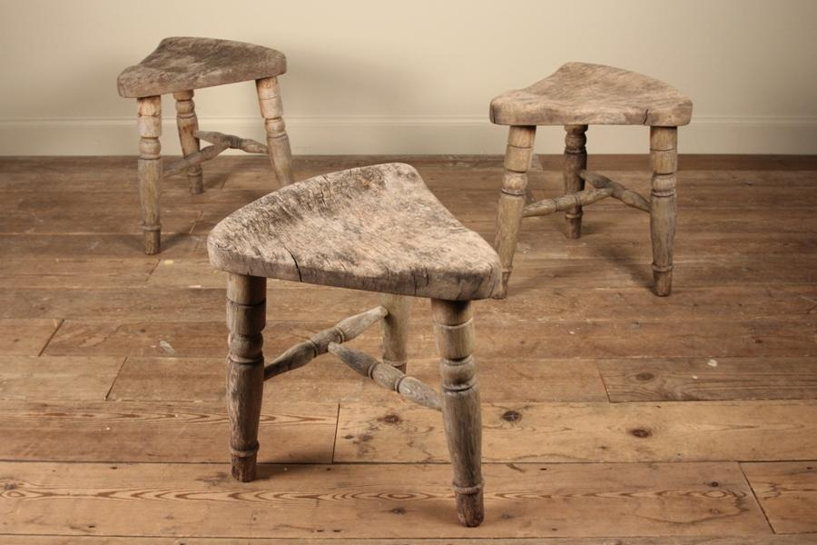 19th C Trio of Elm Saddle Stools