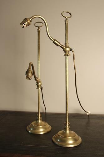 High Quality Pair of Adjustable Brass Table Lamps