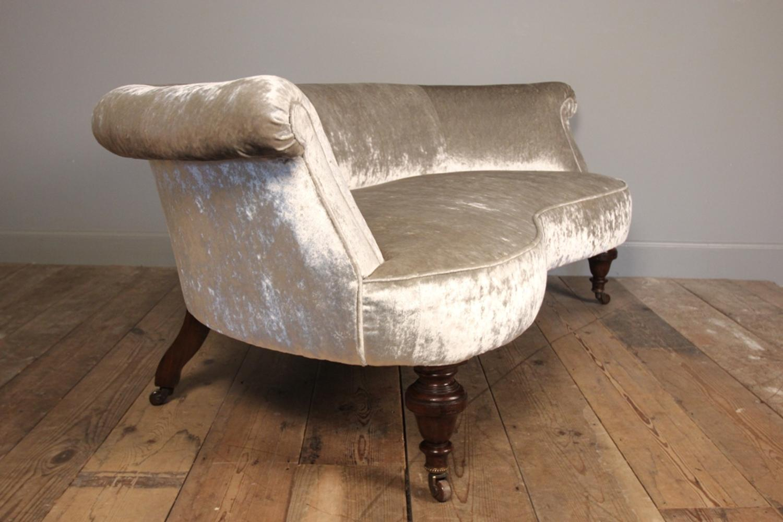 Small 19th C. Mahogany Kidney Shaped Sofa