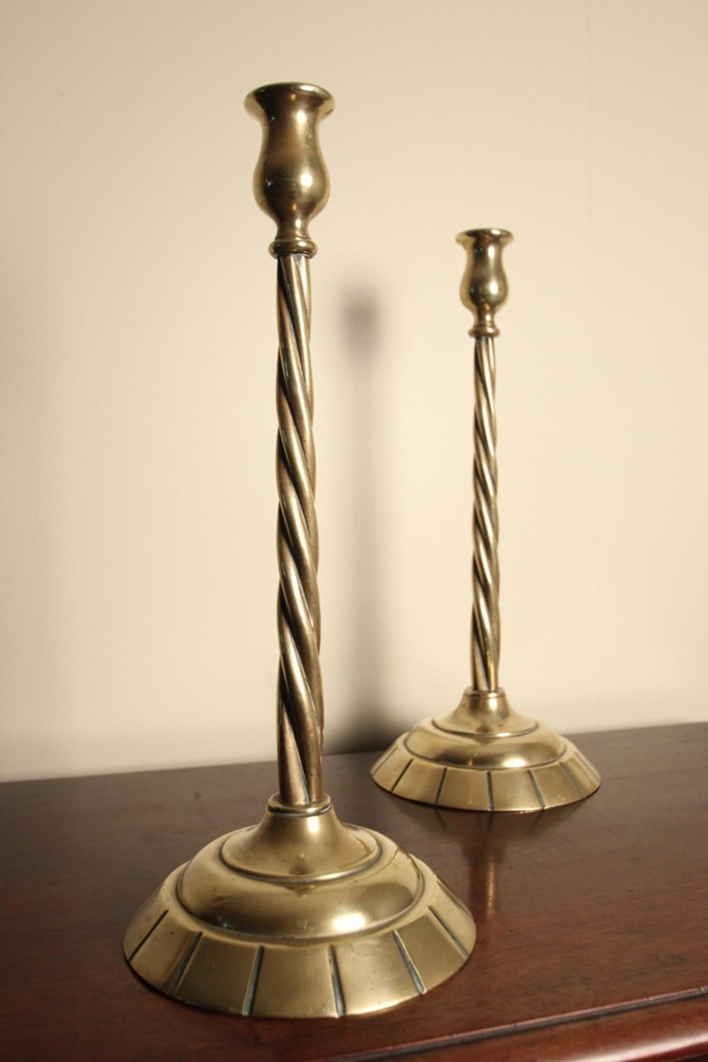 19th C. Large Brass Candlesticks
