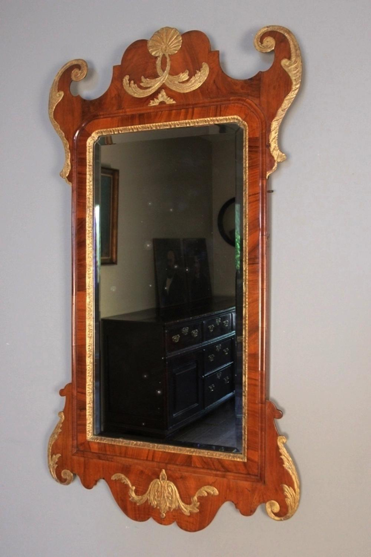 Large George II 18th C. Walnut & Gilt Wall Mirror