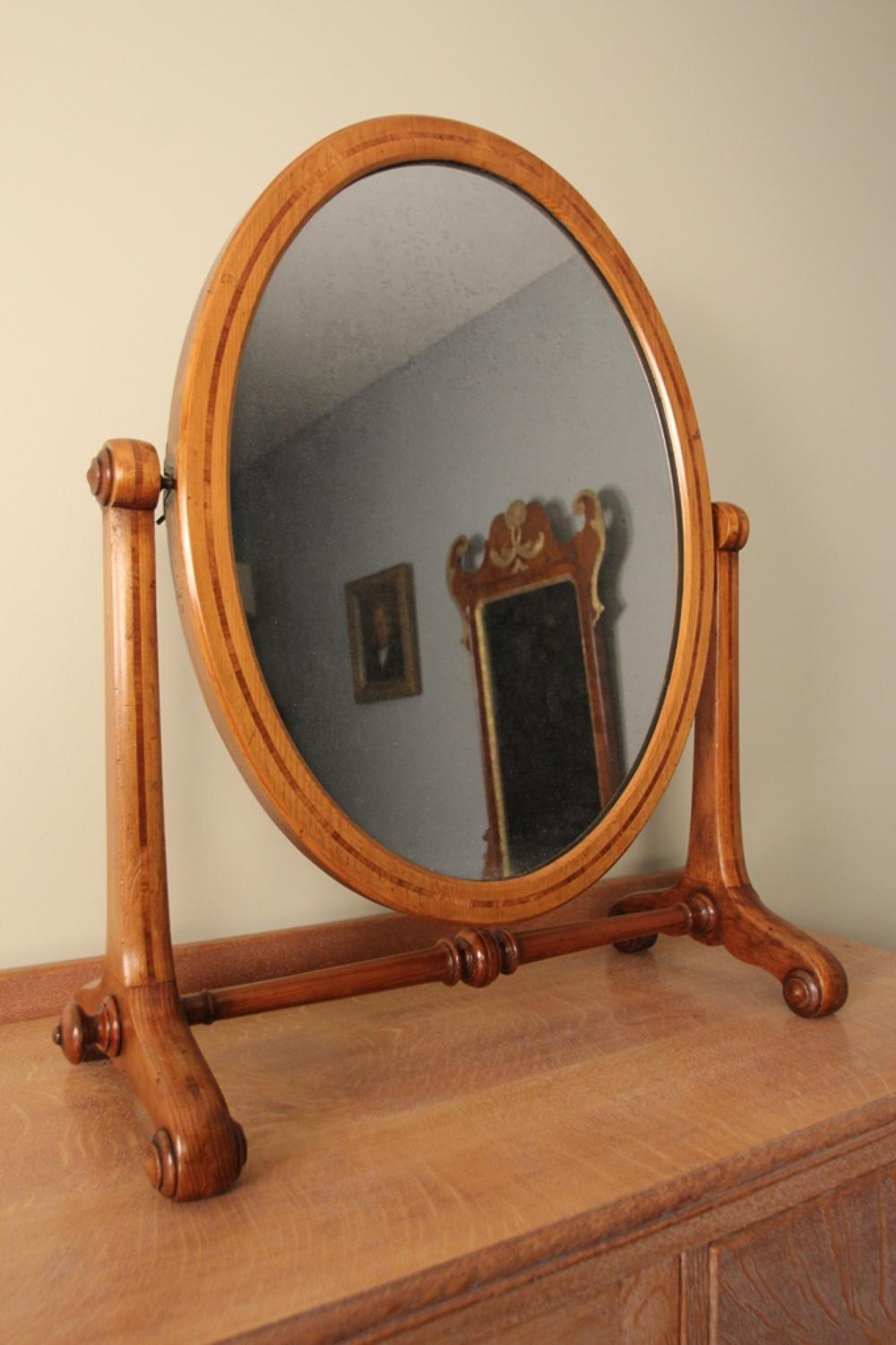19th C.  Inlaid Oregon Pine Table Mirror