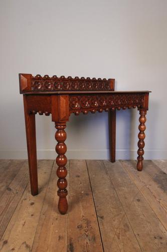 Small Oak Bobbin Console Side Table