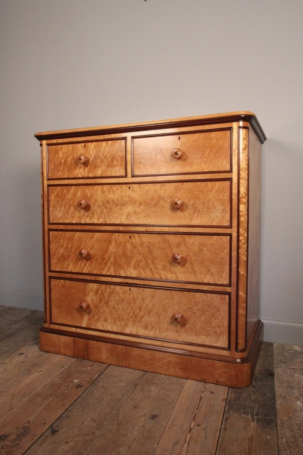 19th C. Holland & Sons Birdseye Maple Chest of Drawers