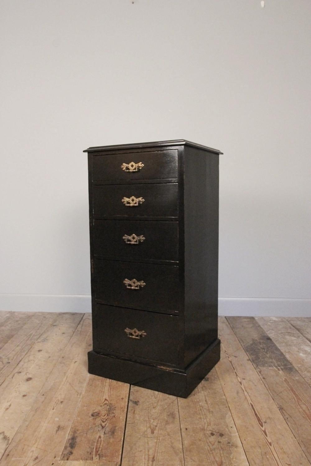 19th C. Ebonised Pillar Chest of Drawers