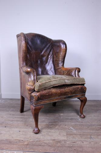 Superb 19th C. Leather Wing Chair