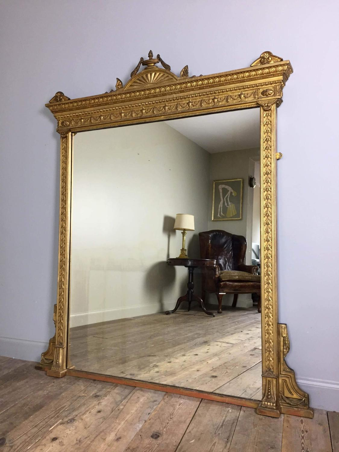 19th C. Giltwood Overmantle Mirror