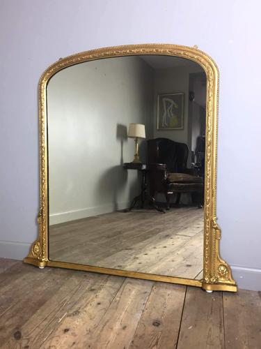 Classic 19th Century Giltwood Overmantle Mirror