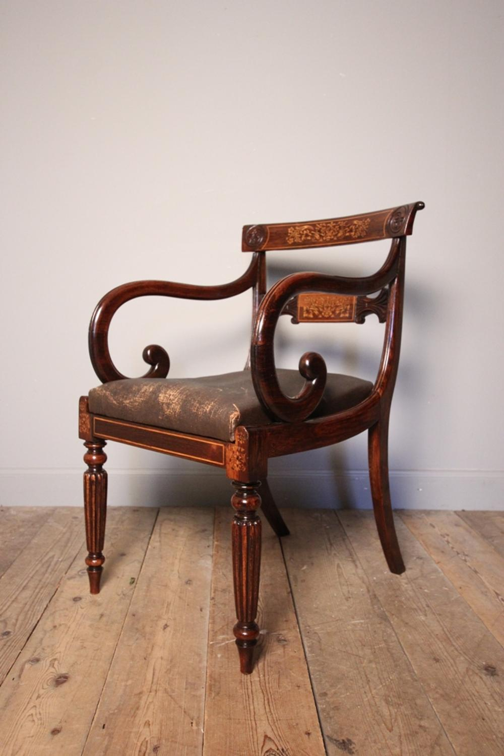 Fine Regency Elbow Desk Chair