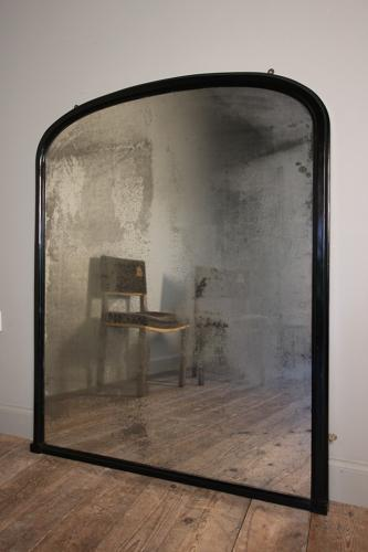 19th C. Ebonised Mirror with Amazing Plate