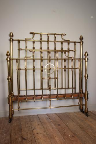 Wonderful Brass Double Bed with Original Lacquer Finish 4ft 6
