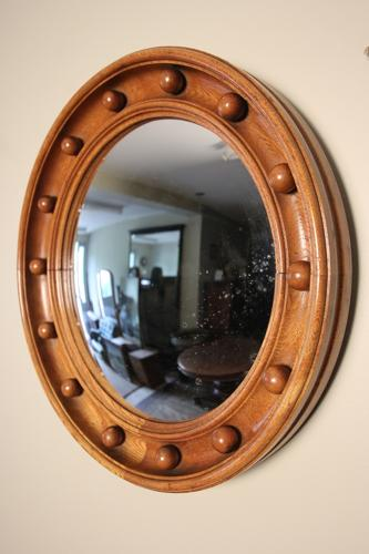Oak Convex Mirror
