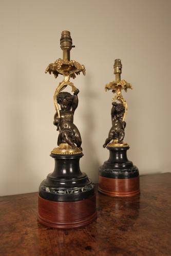 Pair of Bronze, Ormolu & Marble Cherub Lamps