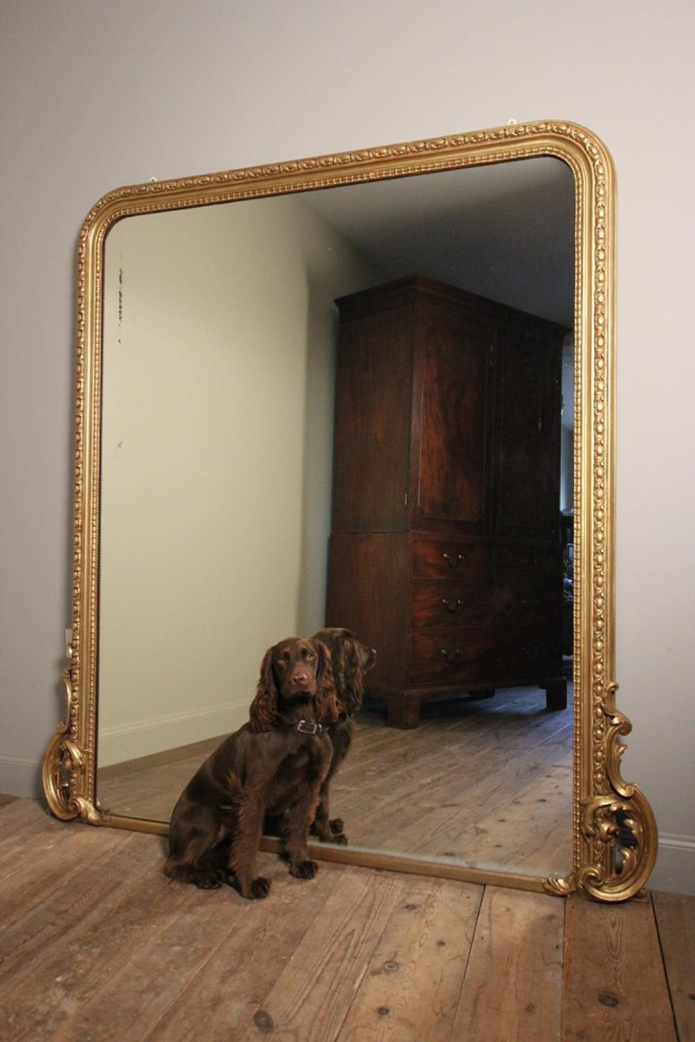 Large 19th C. Giltwood Overmantle Mirror
