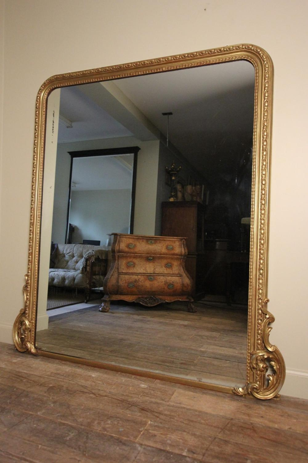 large 19th c giltwood overmantle mirror in mirrors pictures. Black Bedroom Furniture Sets. Home Design Ideas