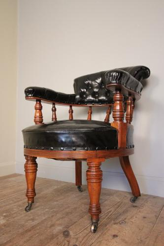 19th C Leather Library  Desk Chair