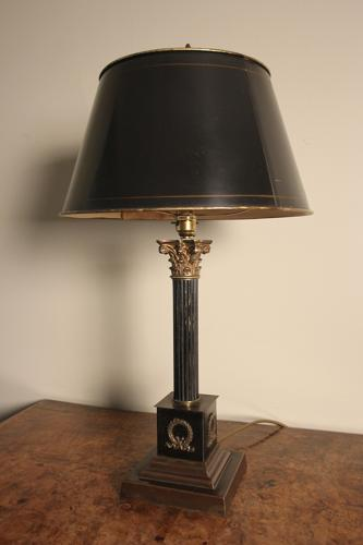Edwardian Corinthian Lamp Base with Original Shade