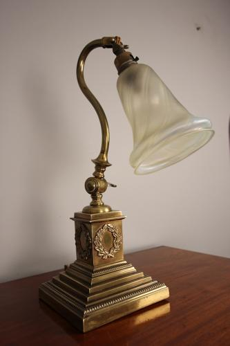 Edwardian Brass Adjustable Table Desk Lamp