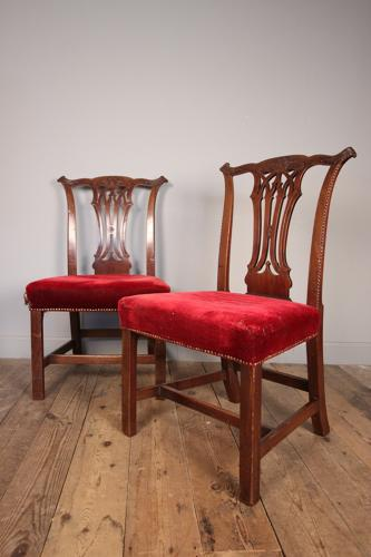 Superb Pair of 18th C. Mahogany Side Chairs