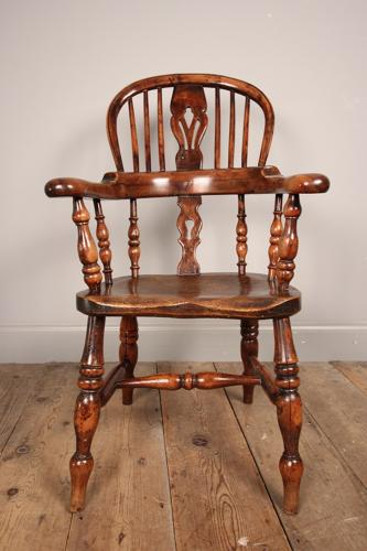 Rare Yew Broad Arm Child's Windsor Chair