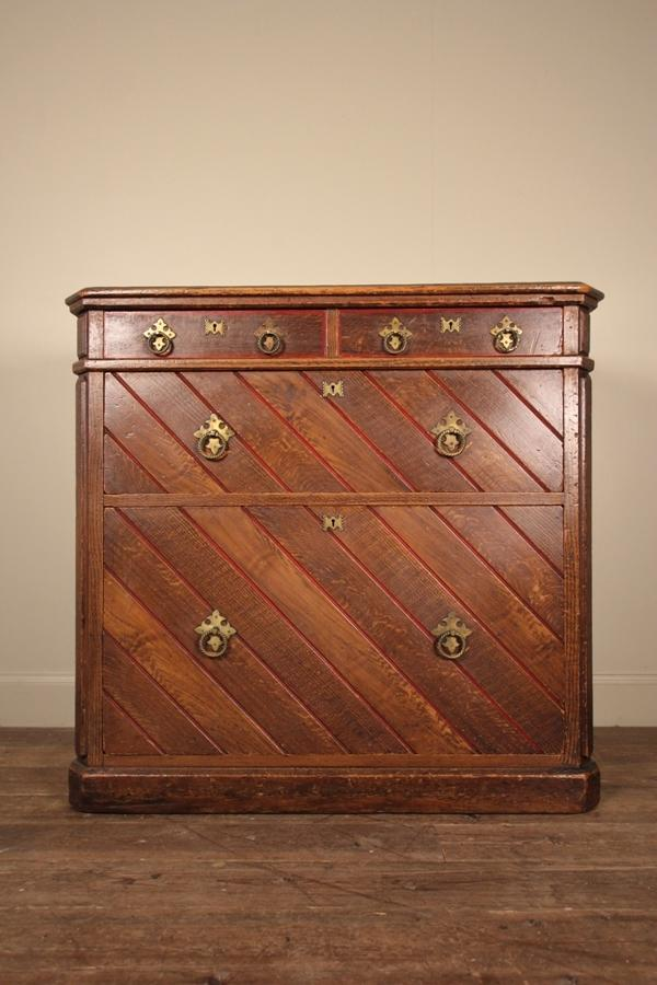 Large Gothic Oak Chest of Drawers
