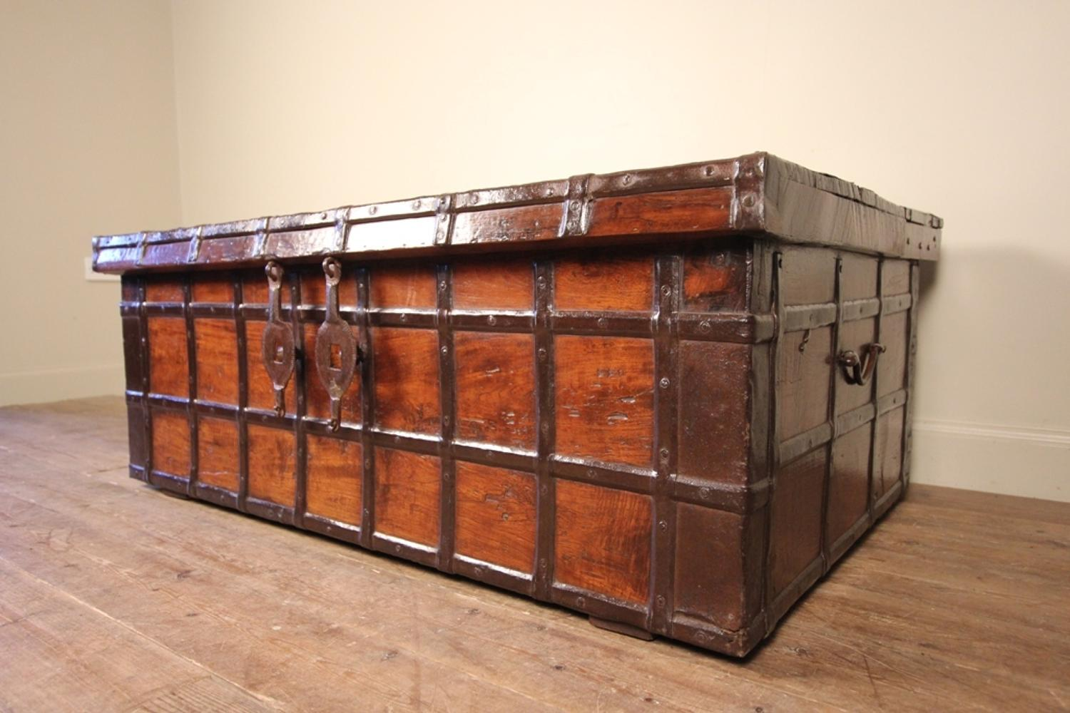 Large Rajasthan Teak & Iron Banded Trunk