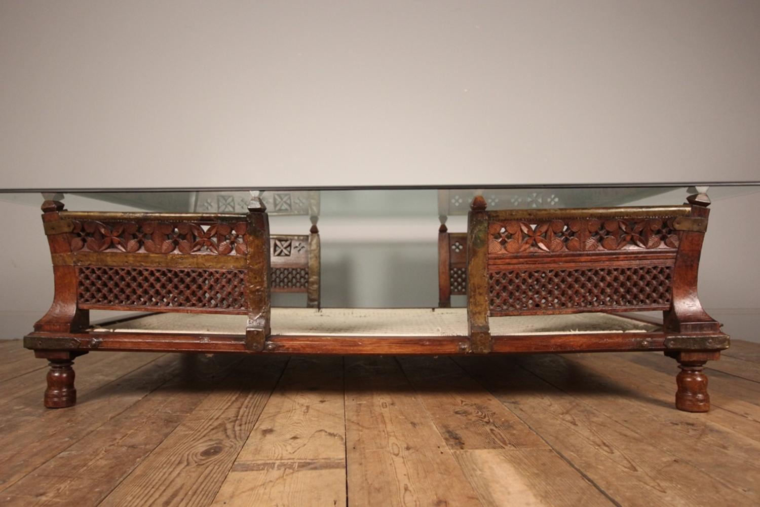 Large Colonial Glass Topped Palanquin Coffee Table