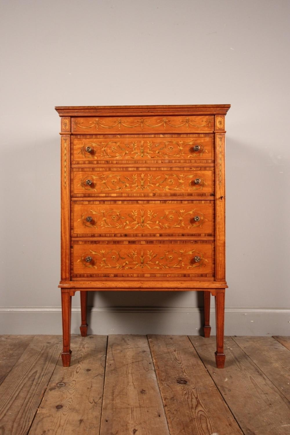 Superb Inlaid Satinwood Wellington Chest