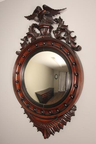 19th Century Large Convex Walnut Mirror