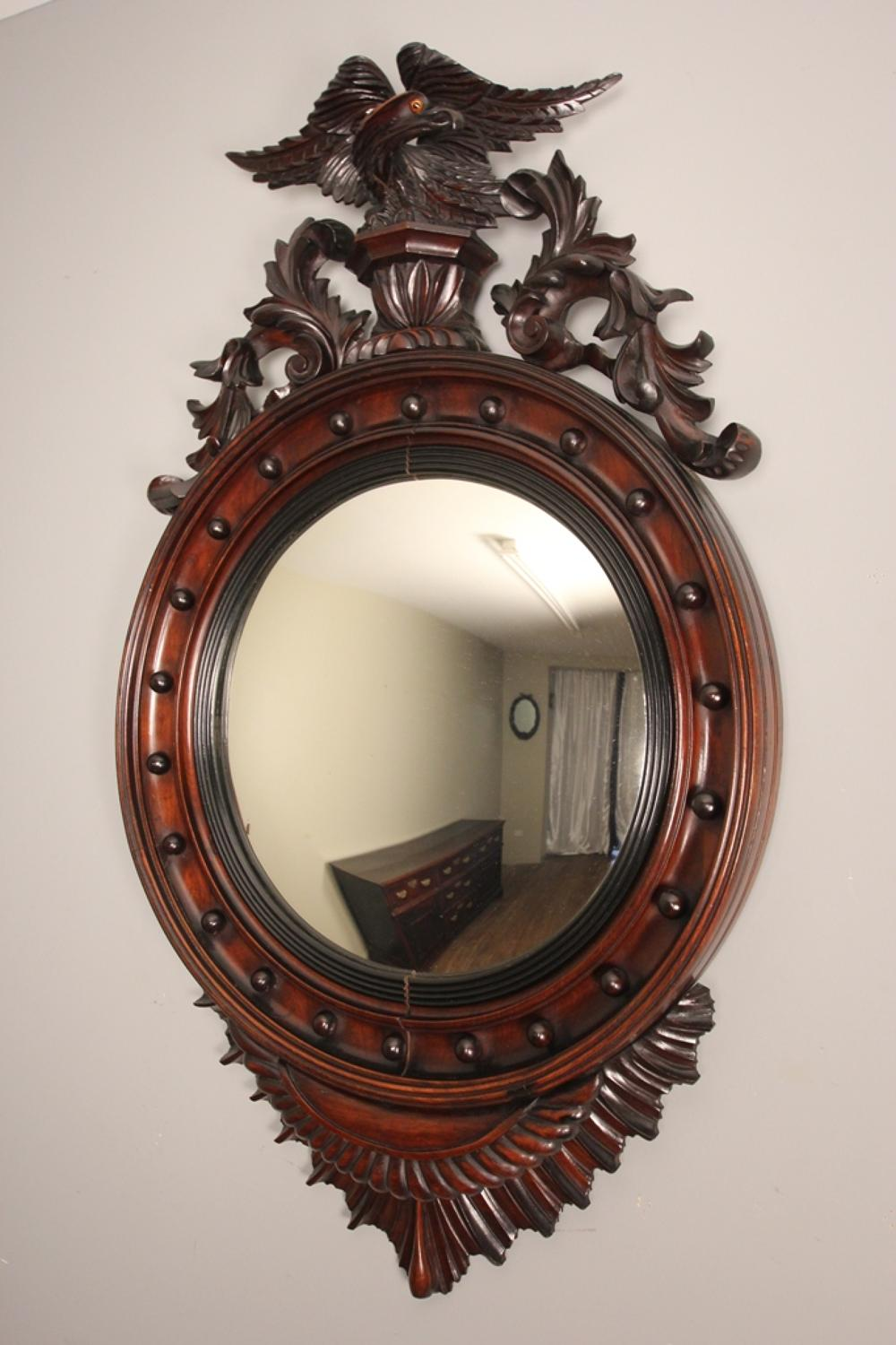 19th Century Large Convex Walnut Mirror