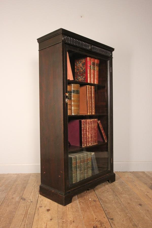 19th C. Ebonised Glazed Bookcase Cabinet