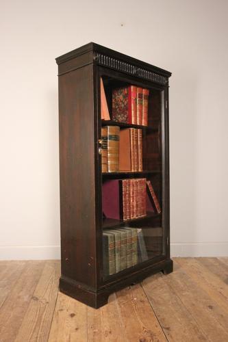 19th C. Ebonised Glazed Bookcase Cabinet