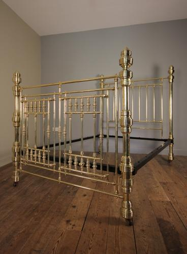 Outstanding 19th C. Brass Double Bed (4 ft 6